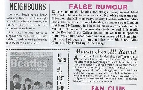 Nota de la revista Beatles Book Monthly asegurando que el accidente de auto de Paul McCartney era un rumor