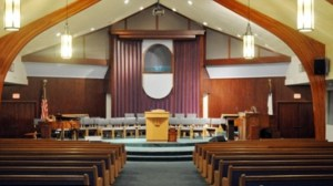 Inside of the 'Valley Crossroads' Seventh-day Adventist church in California where Angus reportedly worships.