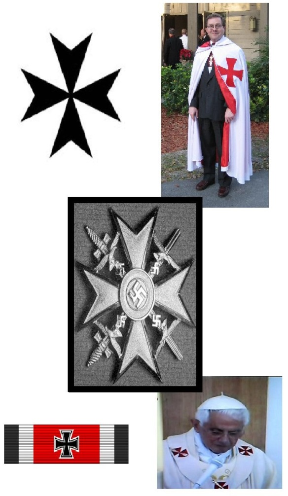SPOT THE DIFFERENCE: Top left: The Knights of Malta (Maltese) Cross; Top Right: A Freemason of the Knights Templar Order; Bottom left: A Nazi Iron Cross, 1935-1945; Bottom right: Pope Benedict XVI; Centre: A Nazi Cross to recognise the services of German volunteers in the Spanish Civil War.