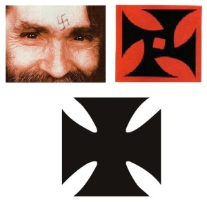 Top left: Manson with his etched 'swastika; Top right: The Process Church's logo; Below: A Maltese Cross.