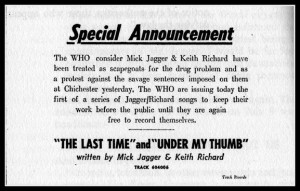 The Who's support for Mick and Keith.(CLICK TO ENLARGE)