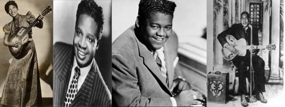 PIONEERS... From left to right; Sister Rosetta Tharpe, Roy Brown, Fats Domino, Arthur Crudup.