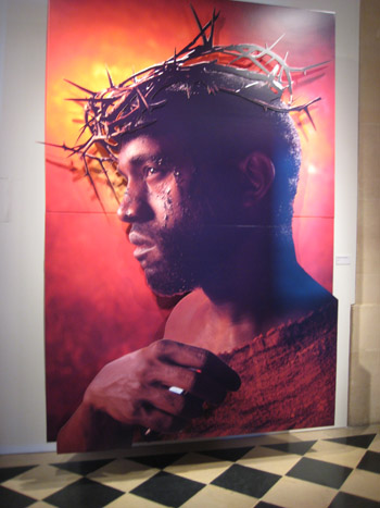 David LaChapelle's portrait of Kanye West on display at an exhibition in Paris, 2009.