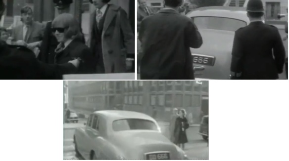 OMINOUS NUMBER-PLATES: Some screen-shots of Brian Jones's car-registration plates; 'DD 666.' The first two pics are reportedly taken from June 1967 as he leaves West London Magistrates Court.