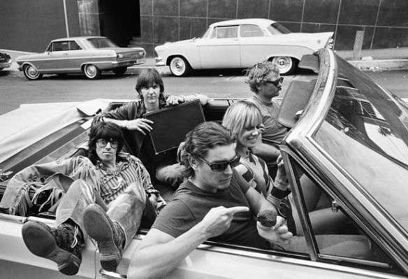 From bottom left clockwise; Keith Richards, Gram Parsons, Phil Kaufman drivers seat),  and Anita Pallenberg.