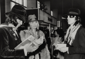 Mick, Anita Pallenberg, and Keith at London's Heathrow Airport, 1968.