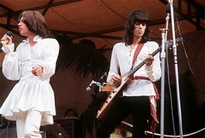 Mick and Keith performing at The Stones' 1969 Hyde Park gig.