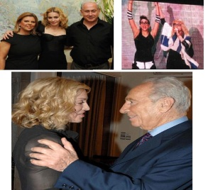 (Top left); Madonna with Benjamin Netanyahu and his wife, Sara, (Top right); Madonna draped in Israeli flag, Tel Aviv, September 2009, (Bottom); with Shimon Peres in Jerusalem.
