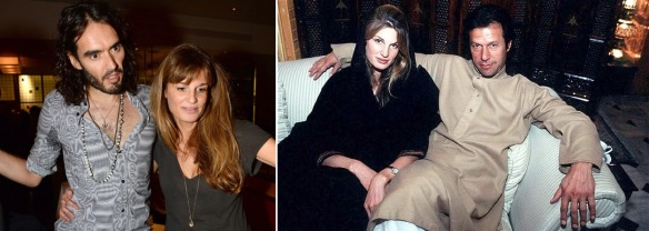 (Left); Jemima Khan with Russell Brand, and (Right); with Imran Khan.