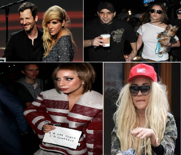 From top-left to right: Dr. Luke and Kesha pictured in 2011; Sam Lutfi and Britney Spears; Amanda Bynes circa 2013; Lady Gaga