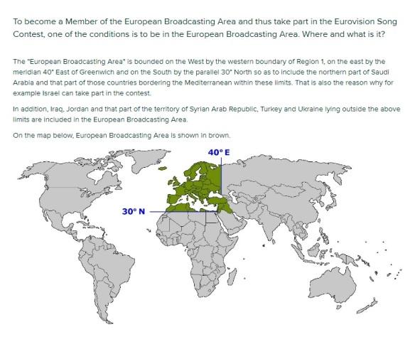 EBU broadcasting Eurovision area